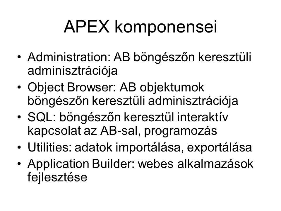 APEX komponensei Administration: AB böngészőn keresztüli adminisztrációja. Object Browser: AB objektumok böngészőn keresztüli adminisztrációja.