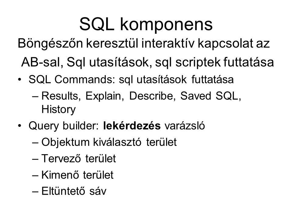 SQL komponens Böngészőn keresztül interaktív kapcsolat az