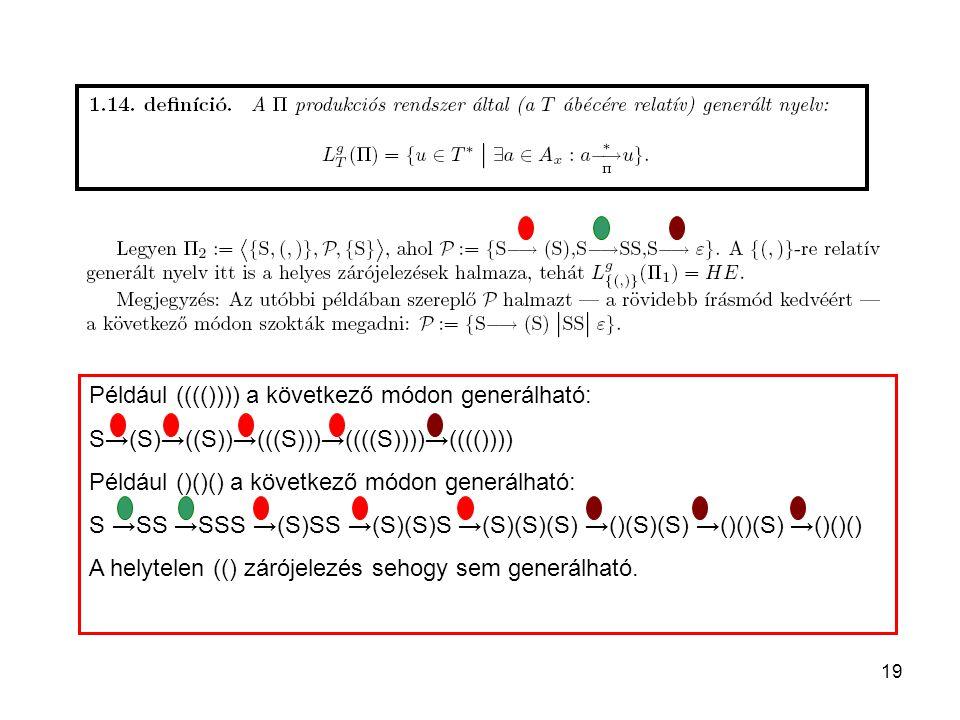 Például (((()))) a következő módon generálható: