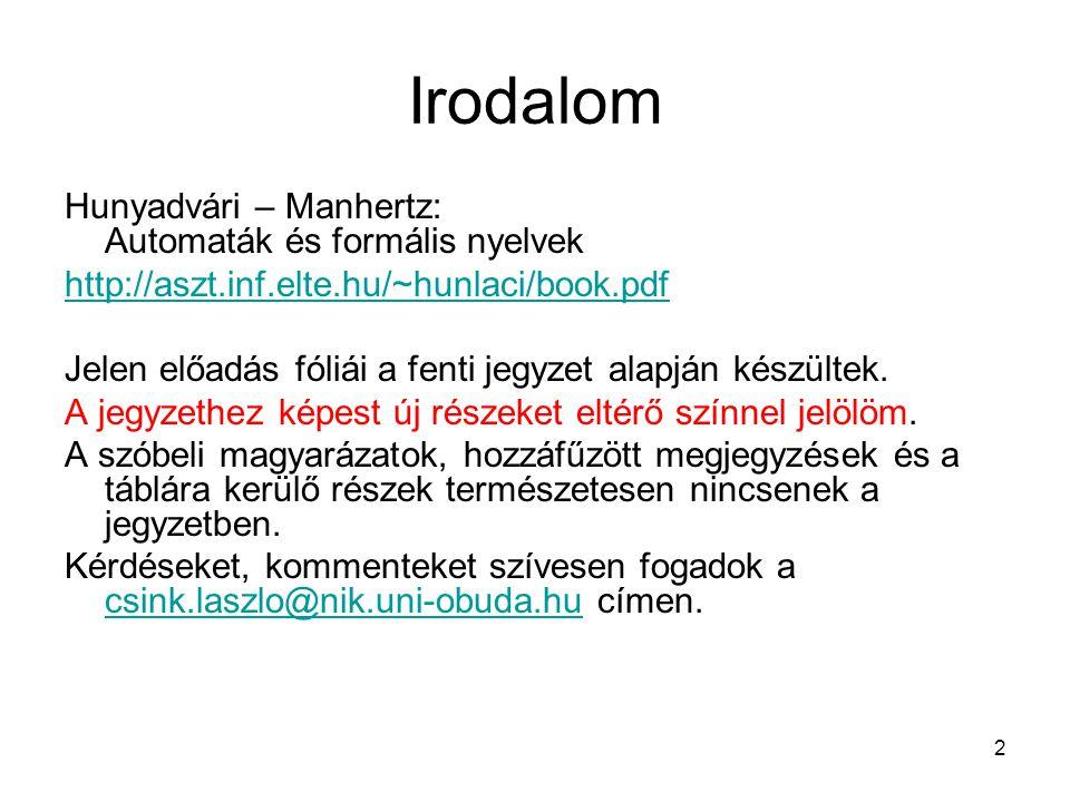 Irodalom Hunyadvári – Manhertz: Automaták és formális nyelvek