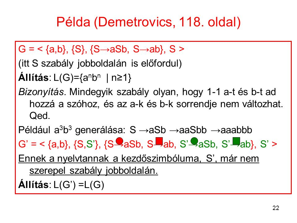 Példa (Demetrovics, 118. oldal)
