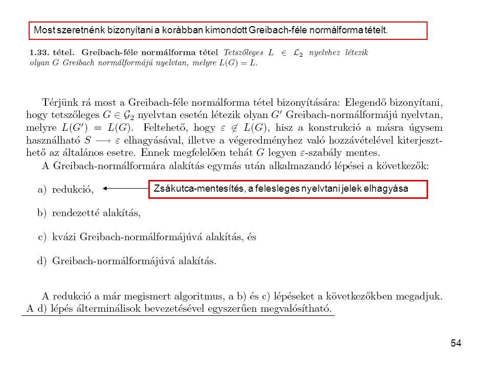 Most szeretnénk bizonyítani a korábban kimondott Greibach-féle normálforma tételt.
