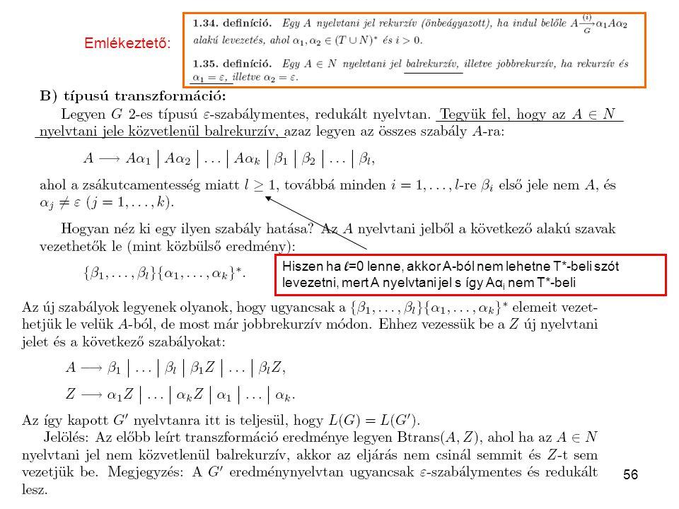 Emlékeztető: Hiszen ha l=0 lenne, akkor A-ból nem lehetne T*-beli szót levezetni, mert A nyelvtani jel s így Aαi nem T*-beli.