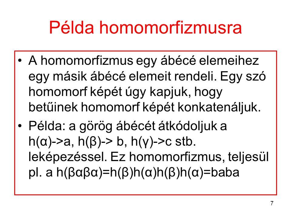 Példa homomorfizmusra