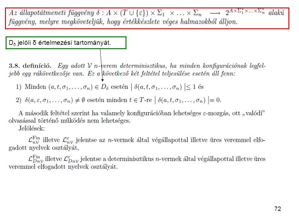 Dδ jelöli δ értelmezési tartományát.