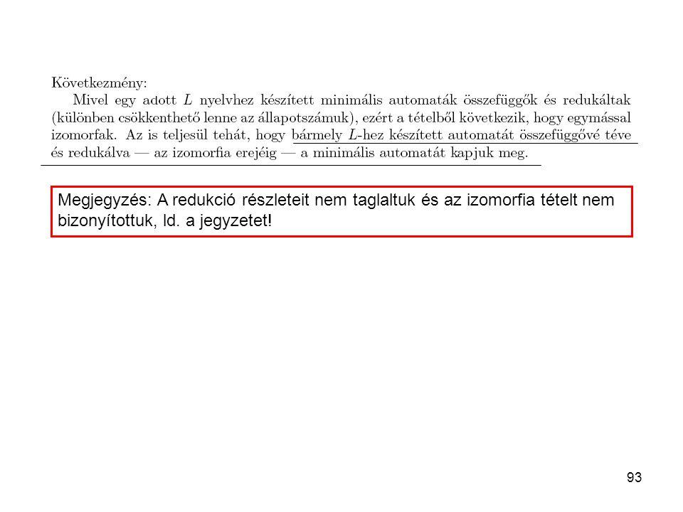 Megjegyzés: A redukció részleteit nem taglaltuk és az izomorfia tételt nem bizonyítottuk, ld.