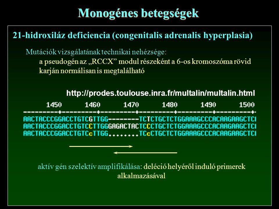 Monogénes betegségek 21-hidroxiláz deficiencia (congenitalis adrenalis hyperplasia) Mutációk vizsgálatának technikai nehézsége: