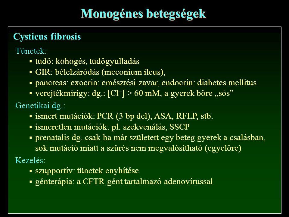 Monogénes betegségek Cysticus fibrosis Tünetek: