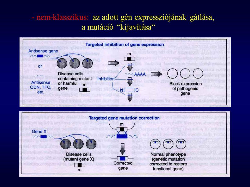 - nem-klasszikus: az adott gén expressziójának gátlása,