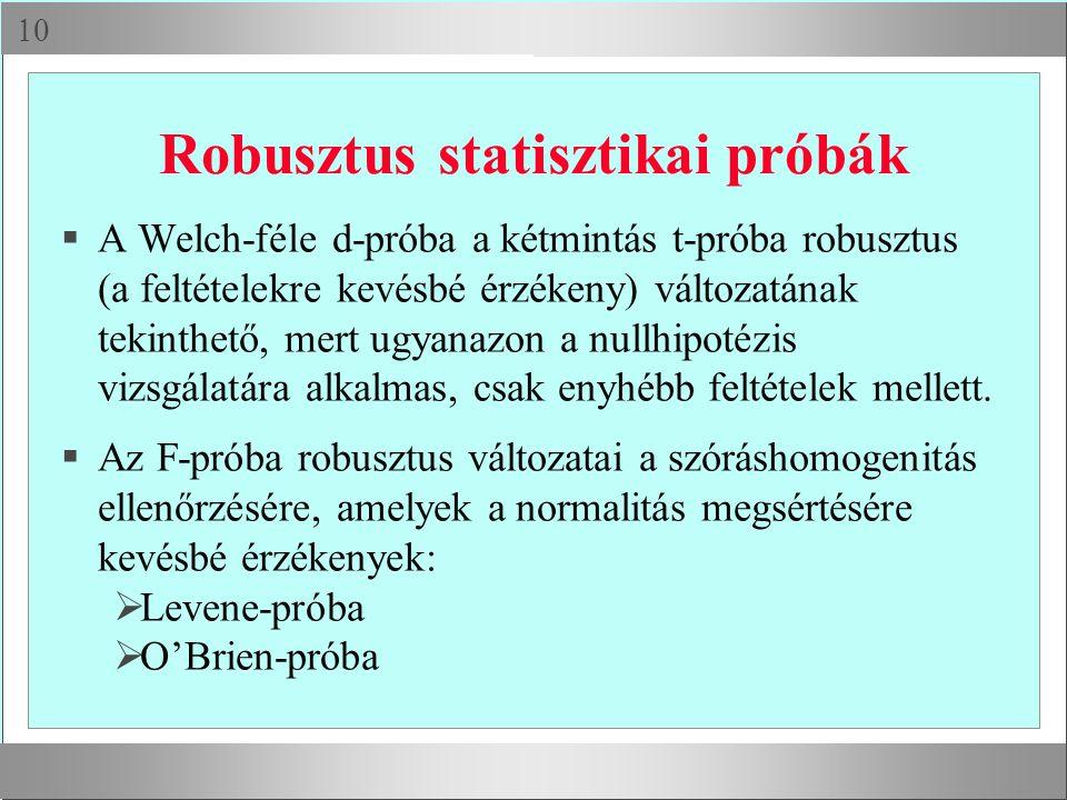 Robusztus statisztikai próbák