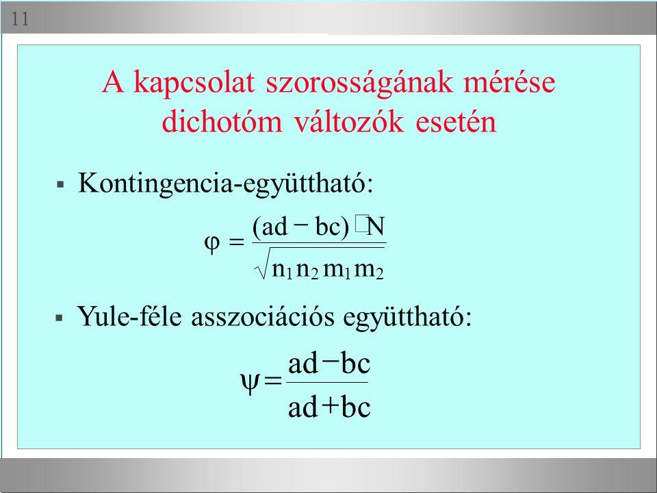 A kapcsolat szorosságának mérése dichotóm változók esetén