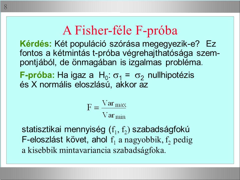 A Fisher-féle F-próba Kérdés: Két populáció szórása megegyezik-e Ez