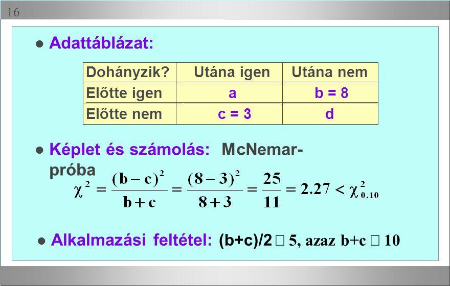 Képlet és számolás: McNemar-próba