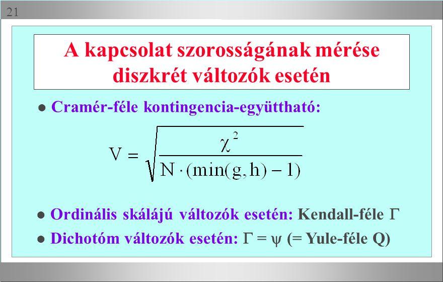 A kapcsolat szorosságának mérése diszkrét változók esetén
