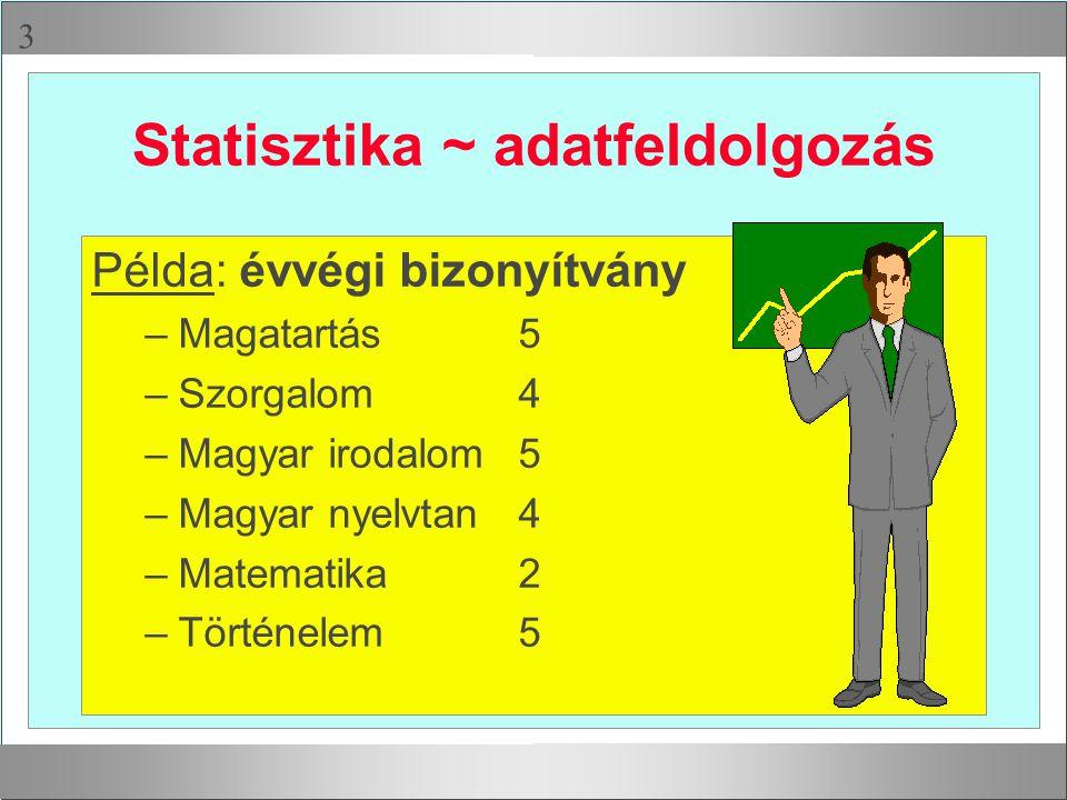 Statisztika ~ adatfeldolgozás
