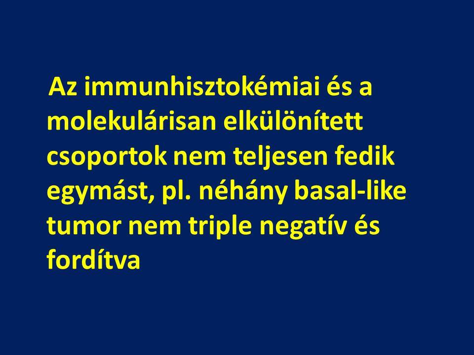 Az immunhisztokémiai és a molekulárisan elkülönített csoportok nem teljesen fedik egymást, pl.