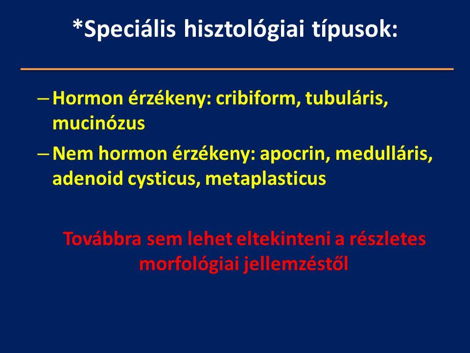 *Speciális hisztológiai típusok: