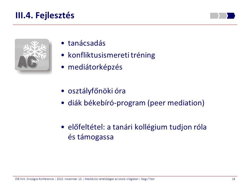 III.4. Fejlesztés tanácsadás konfliktusismereti tréning mediátorképzés