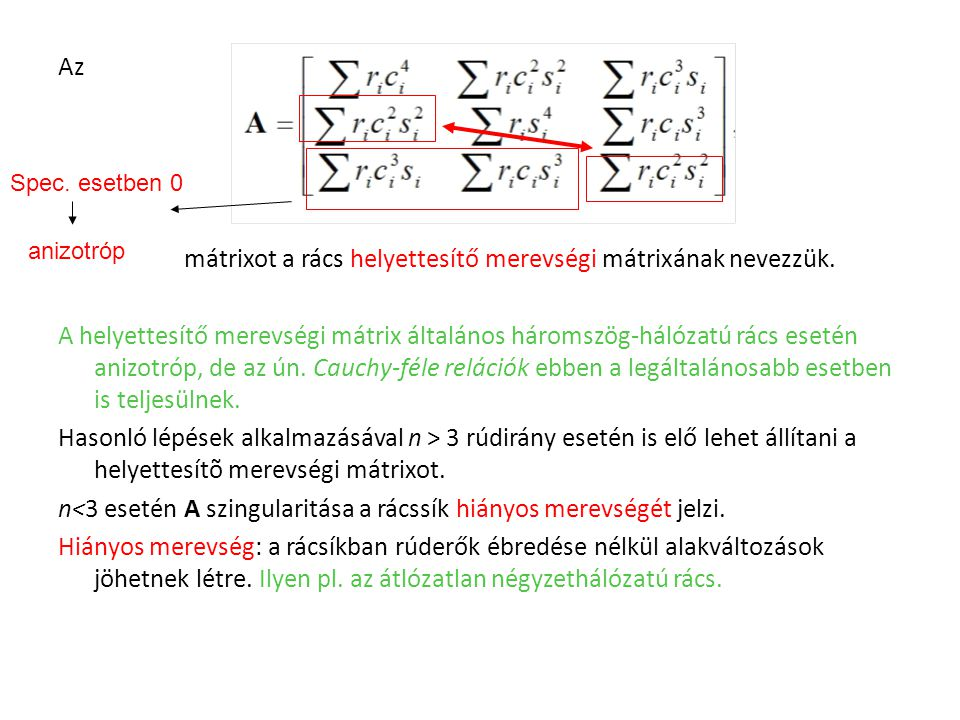 mátrixot a rács helyettesítő merevségi mátrixának nevezzük.