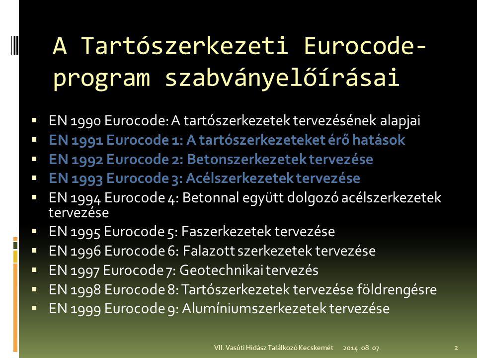 A Tartószerkezeti Eurocode-program szabványelőírásai
