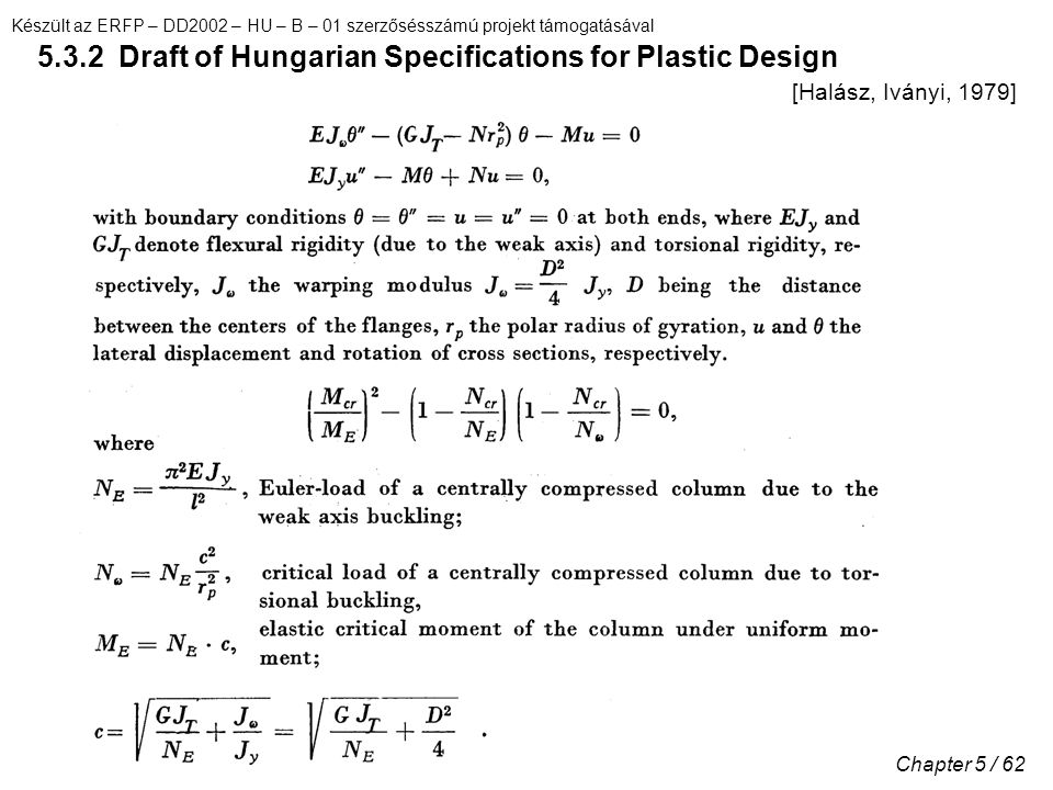 5.3.2 Draft of Hungarian Specifications for Plastic Design