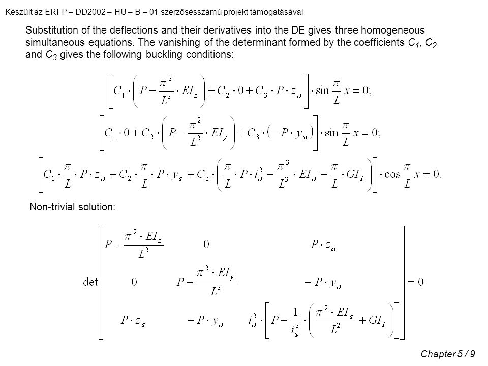 Substitution of the deflections and their derivatives into the DE gives three homogeneous simultaneous equations. The vanishing of the determinant formed by the coefficients C1, C2 and C3 gives the following buckling conditions: