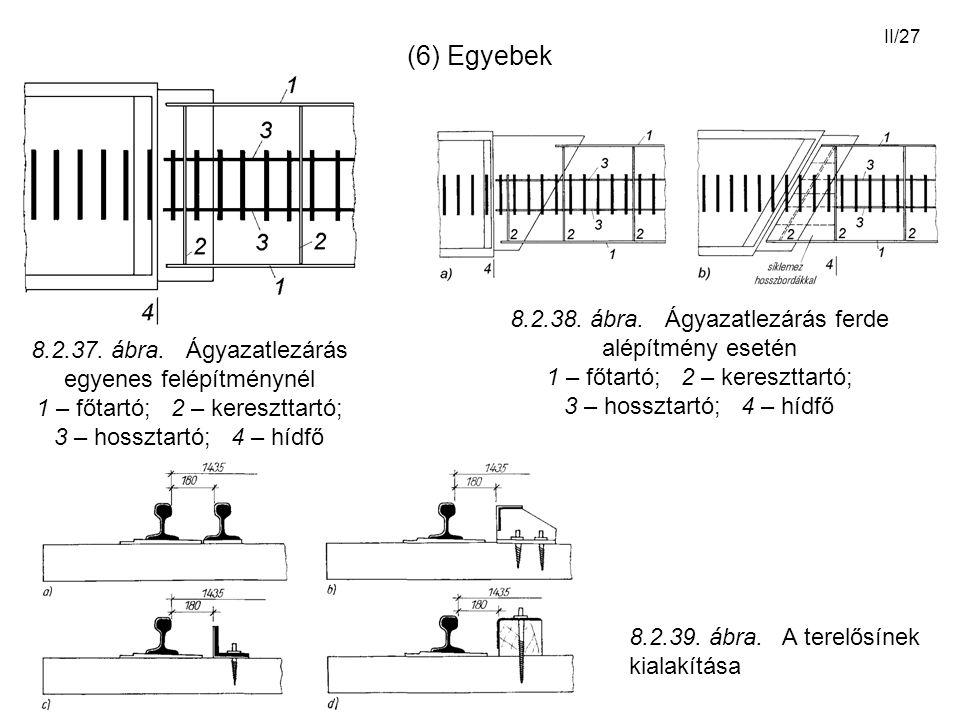 (6) Egyebek 8.2.38. ábra. Ágyazatlezárás ferde alépítmény esetén 1 – főtartó; 2 – kereszttartó;