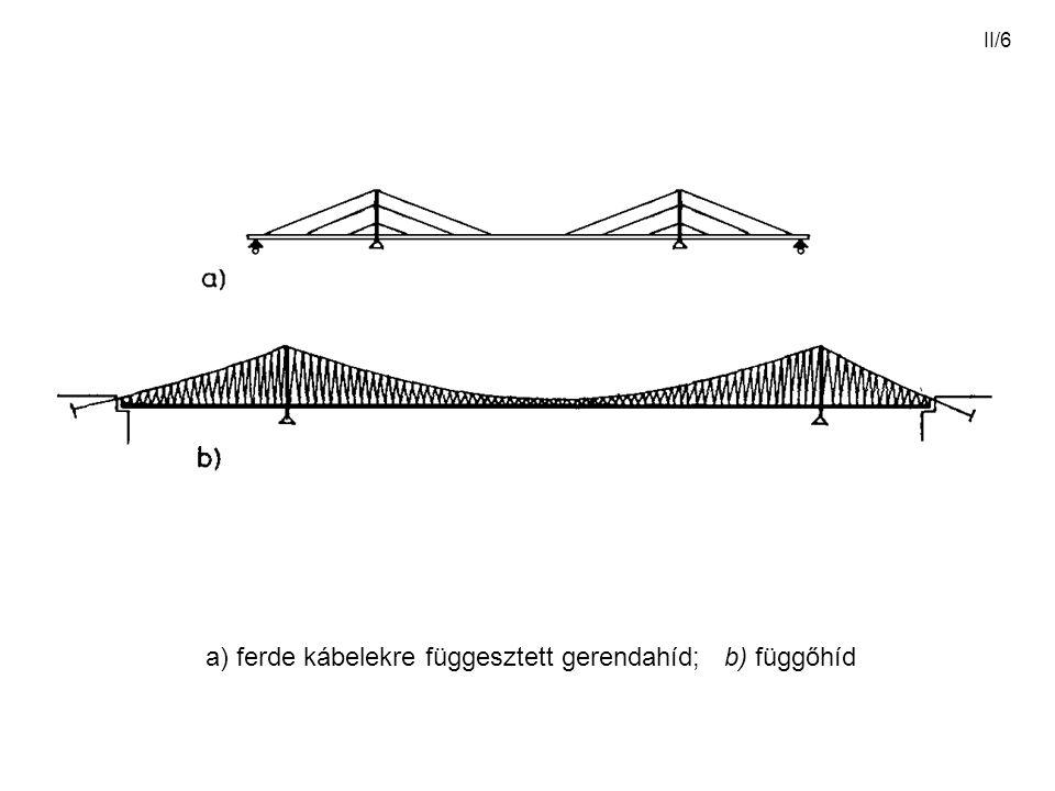 a) ferde kábelekre függesztett gerendahíd; b) függőhíd