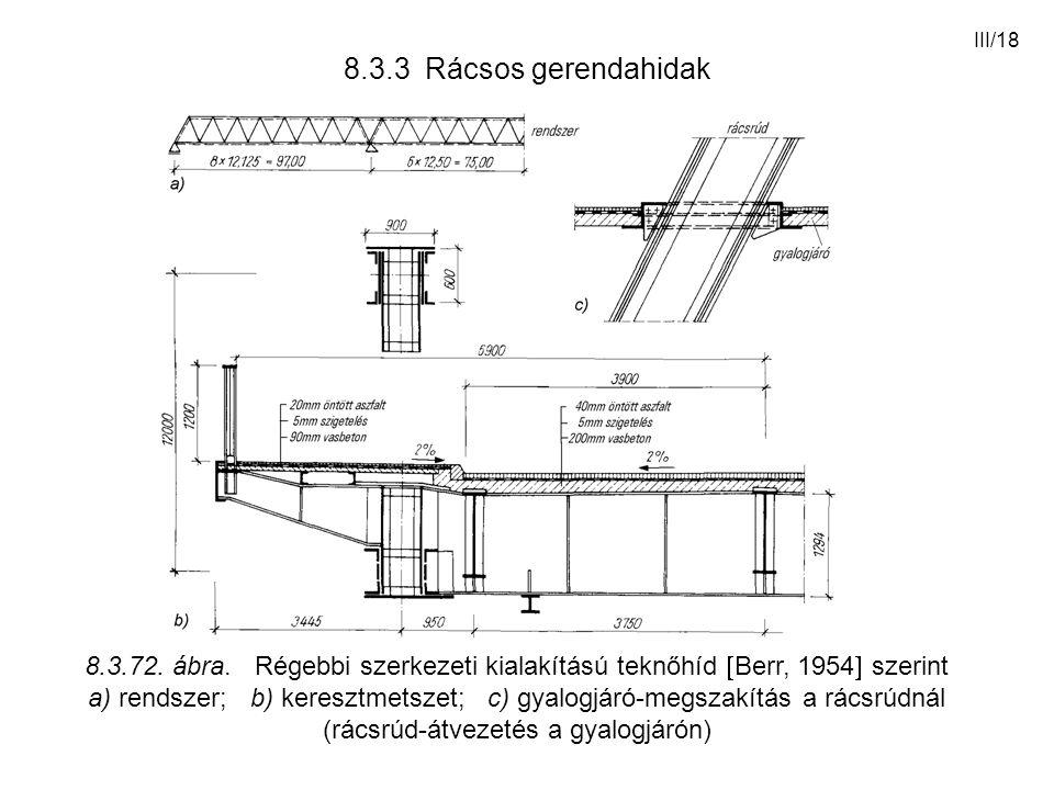 8.3.3 Rácsos gerendahidak 8.3.72. ábra. Régebbi szerkezeti kialakítású teknőhíd Berr, 1954 szerint.