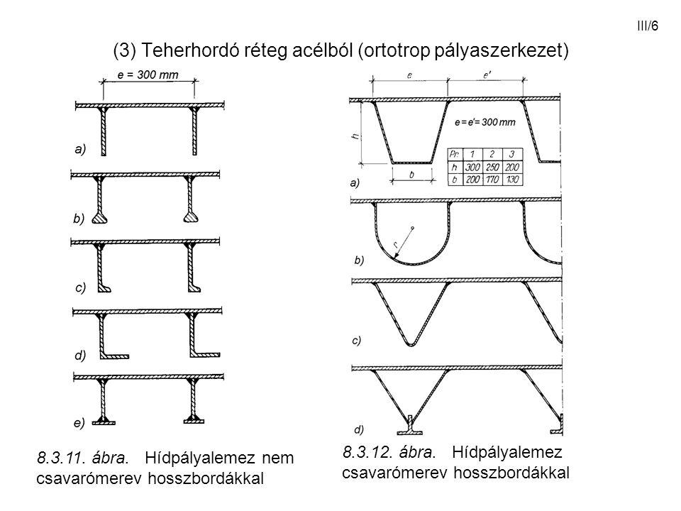(3) Teherhordó réteg acélból (ortotrop pályaszerkezet)