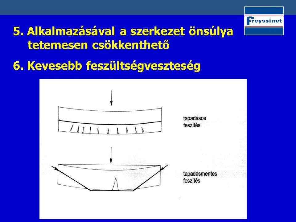 5. Alkalmazásával a szerkezet önsúlya tetemesen csökkenthető