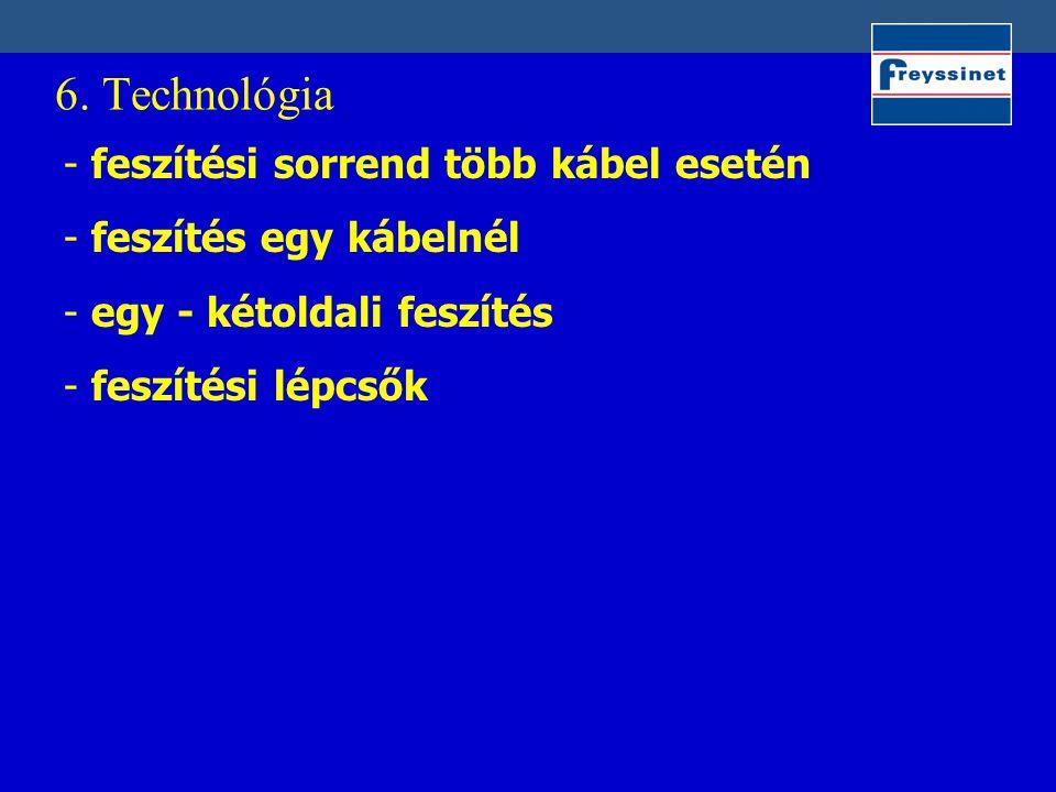 6. Technológia feszítési sorrend több kábel esetén