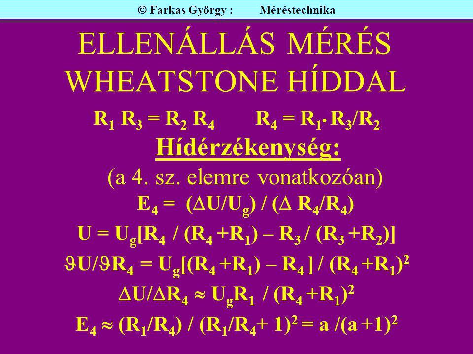 ELLENÁLLÁS MÉRÉS WHEATSTONE HÍDDAL