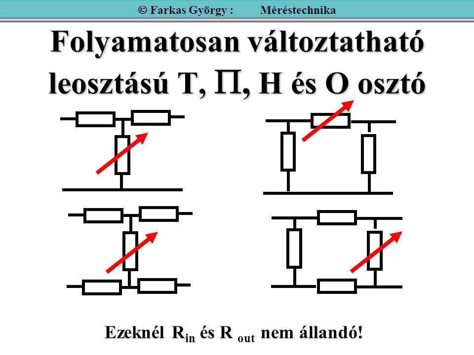 Folyamatosan változtatható leosztású T, , H és O osztó