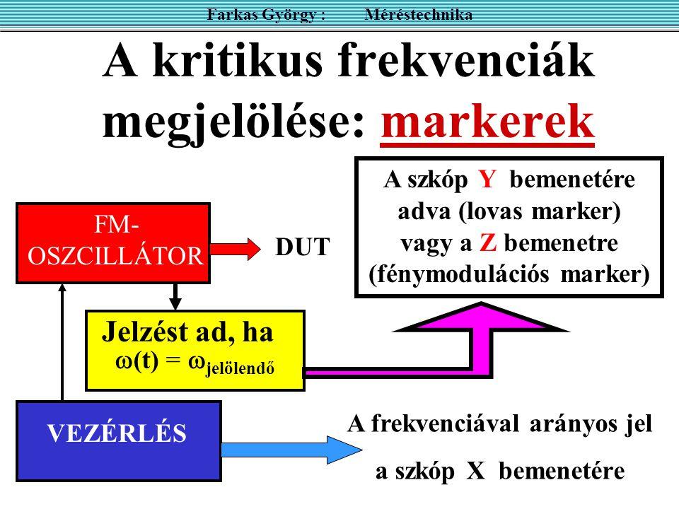 A kritikus frekvenciák megjelölése: markerek
