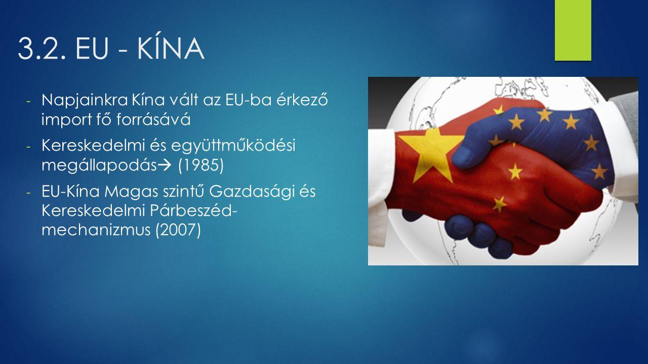 3.2. EU - KÍNA Napjainkra Kína vált az EU-ba érkező import fő forrásává. Kereskedelmi és együttműködési megállapodás (1985)