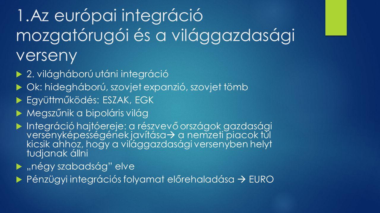 1. Az európai integráció mozgatórugói és a világgazdasági verseny