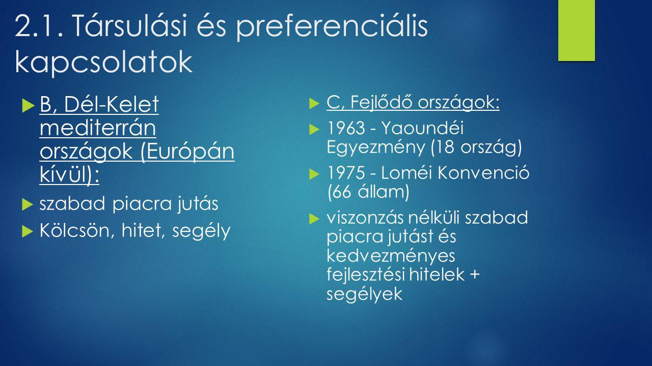 2.1. Társulási és preferenciális kapcsolatok