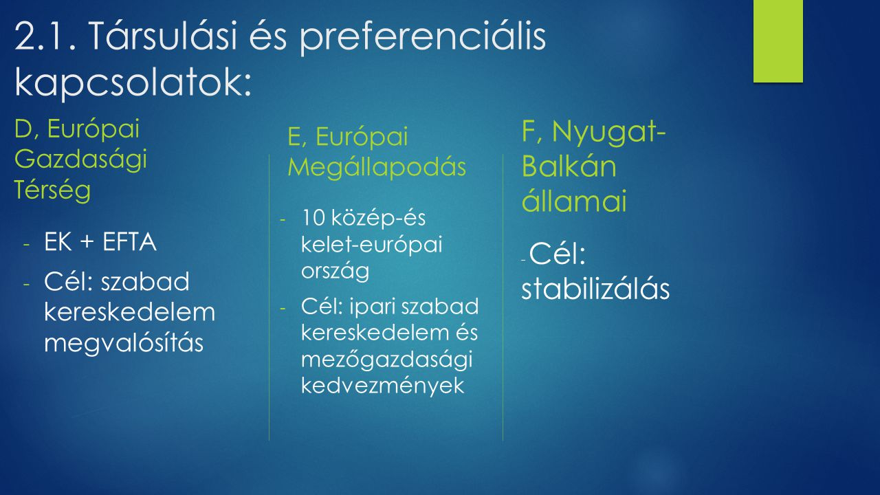 2.1. Társulási és preferenciális kapcsolatok: