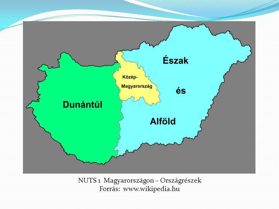NUTS 1 Magyarországon – Országrészek Forrás: www.wikipedia.hu