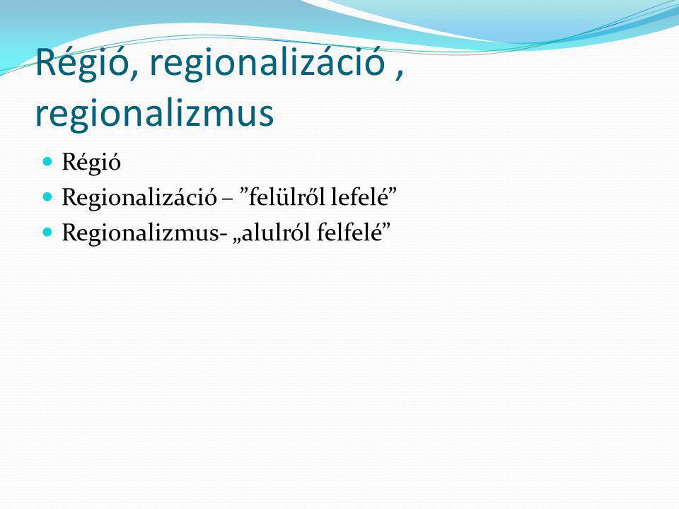 Régió, regionalizáció , regionalizmus