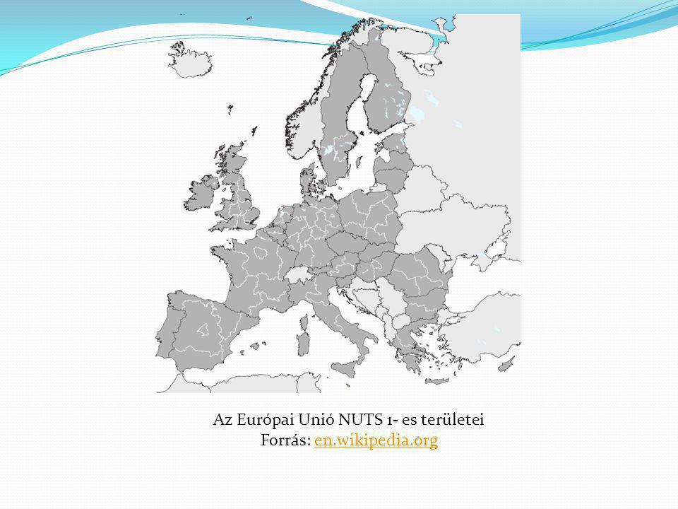 Az Európai Unió NUTS 1- es területei Forrás: en.wikipedia.org