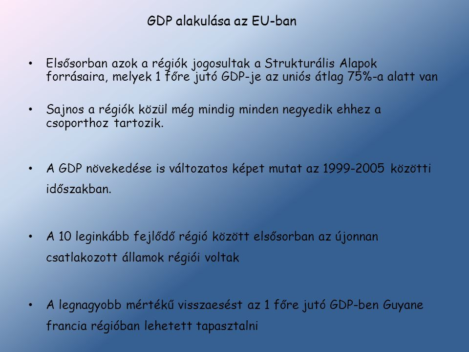 GDP alakulása az EU-ban