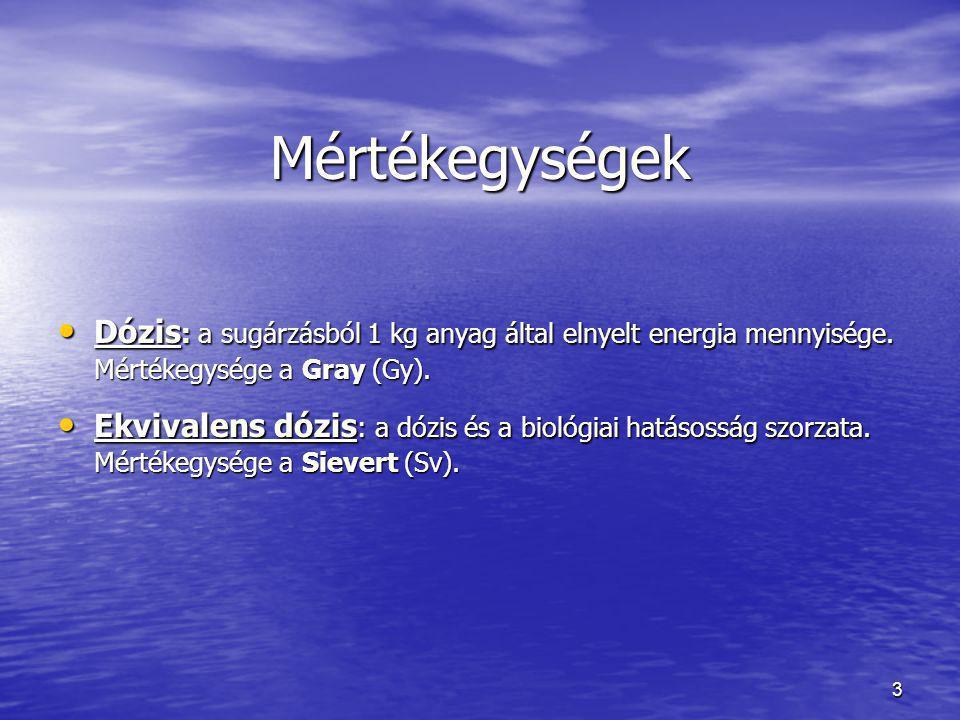 Mértékegységek Dózis: a sugárzásból 1 kg anyag által elnyelt energia mennyisége. Mértékegysége a Gray (Gy).