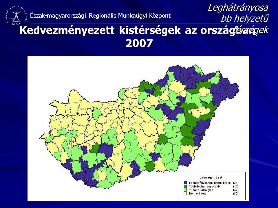 Kedvezményezett kistérségek az országban, 2007