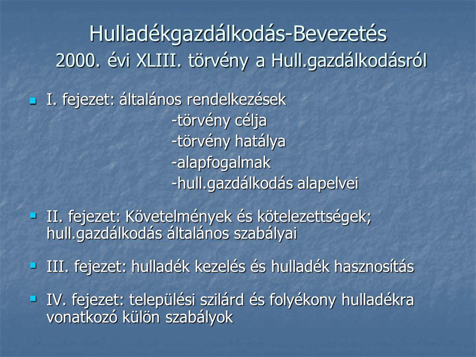 Hulladékgazdálkodás-Bevezetés 2000. évi XLIII. törvény a Hull