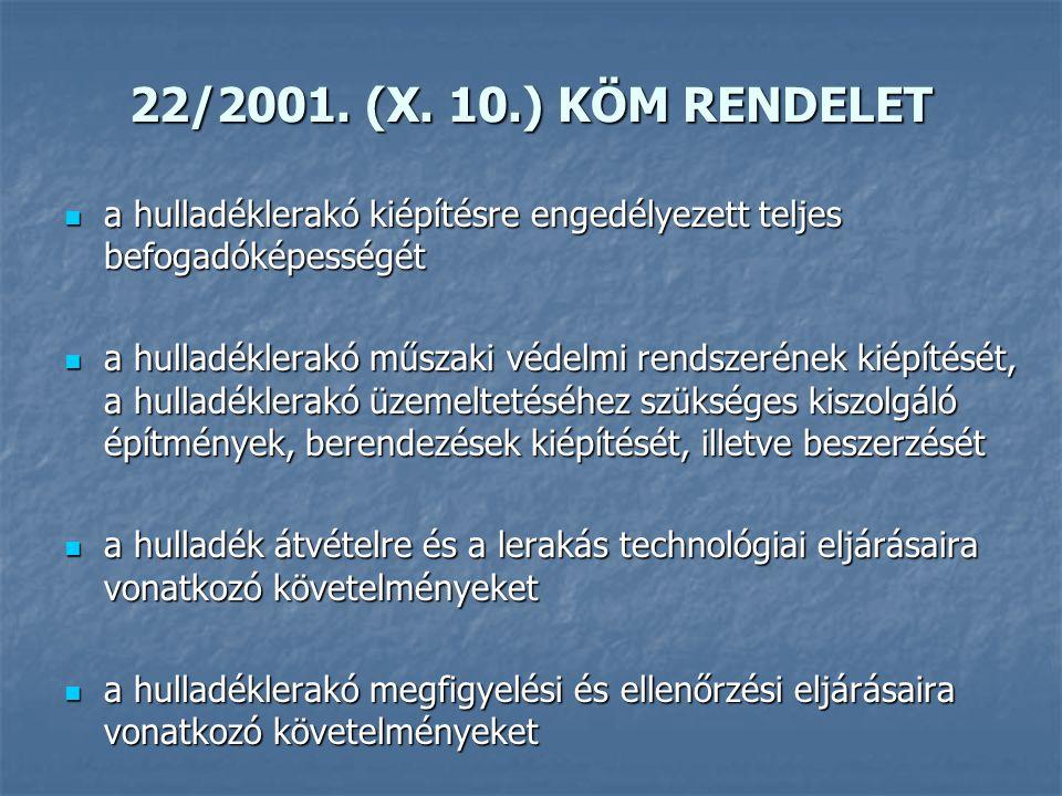 22/2001. (X. 10.) KÖM RENDELET a hulladéklerakó kiépítésre engedélyezett teljes befogadóképességét.