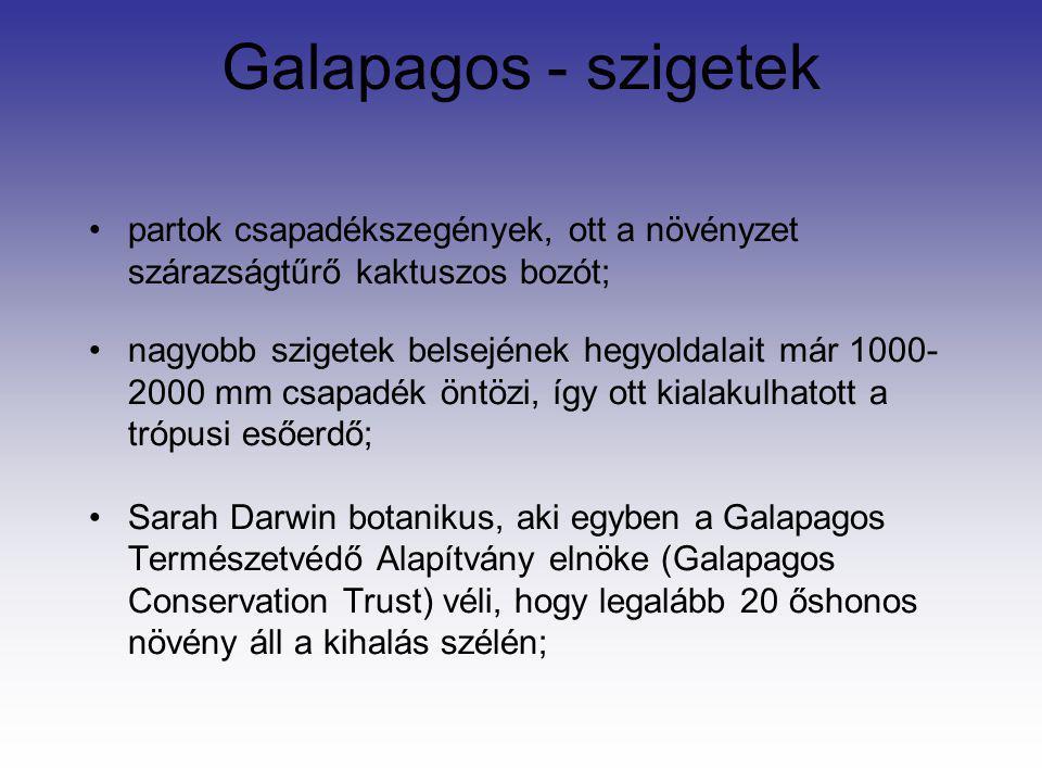 Galapagos - szigetek partok csapadékszegények, ott a növényzet szárazságtűrő kaktuszos bozót;