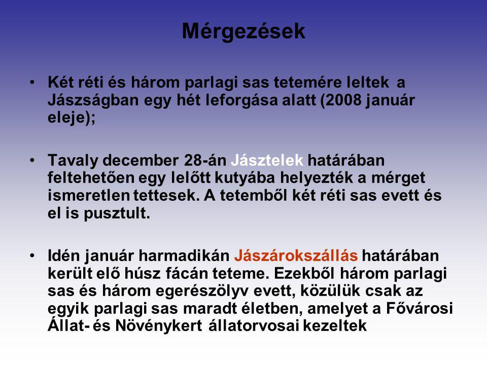 Mérgezések Két réti és három parlagi sas tetemére leltek a Jászságban egy hét leforgása alatt (2008 január eleje);
