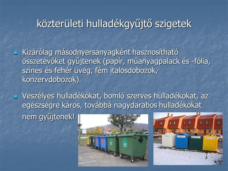 közterületi hulladékgyűjtő szigetek